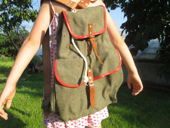 Canvas backpack, Military bag, Army backpack, Gree