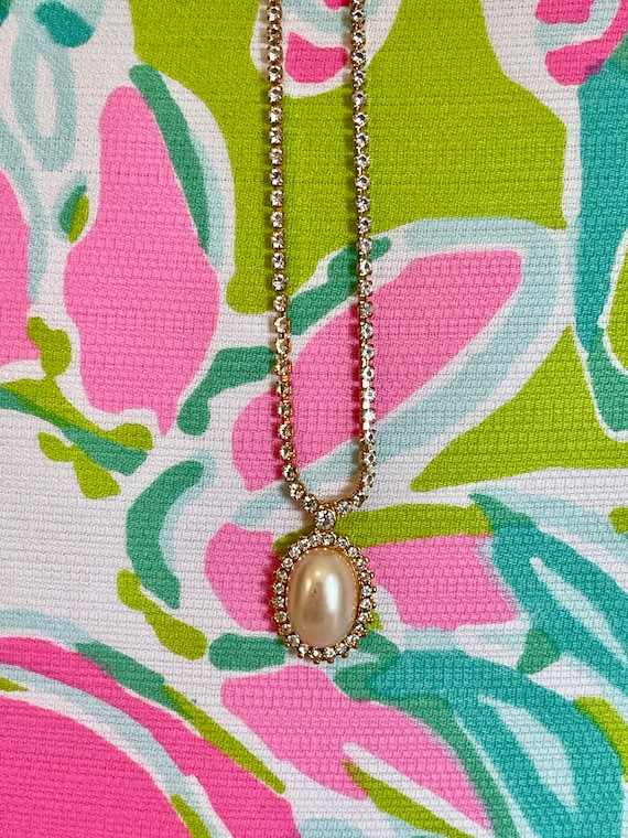 Vintage Monet Pearl and Rhinestone Gold Necklace 1