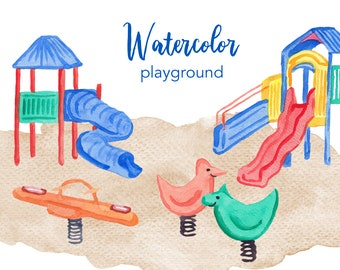 WATERCOLOR CLIPART, playground clipart, watercolour clipart set, commercial use, png files, children clip art, kids, png, digital, nursery