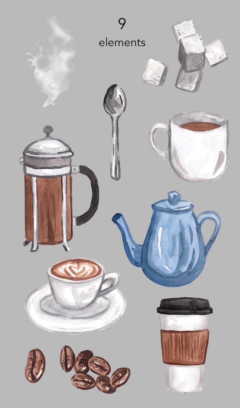 Graphics Scrapbooking Clip Art Sugar Cubes Coffee Cup Pot Food Commercial Use Watercolor Clipart Tea Coffee Clipart Winter Png Clip Art Art Collectibles Lifepharmafze Com