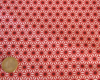coupon 50 X 50 cm red geometric flowers patchwork fabric