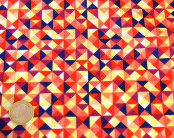 coupon 50 X 50 cm multicolored geometric patchwork fabric
