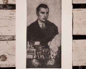 Aquatint / Gerd Arntz Tribute / Entramados / Printmaking etching