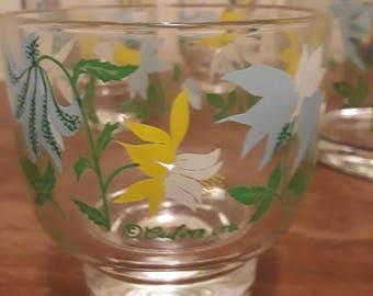 Vintage Culver Barware Glasses and Ice Bucket Culver Flowers Glassware and Ice Bucket Mid Century Modern Culver Barware