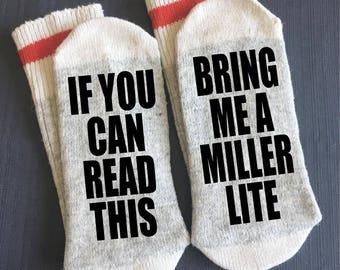 Beer Socks Miller Lite Gifts If You Can Read This Boyfriend Gift Under 20 For Dad