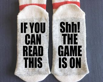 sports sports socks shh the game is on if you can read this sports gifts hockey gifts baseball gifts football gifts christmas gift