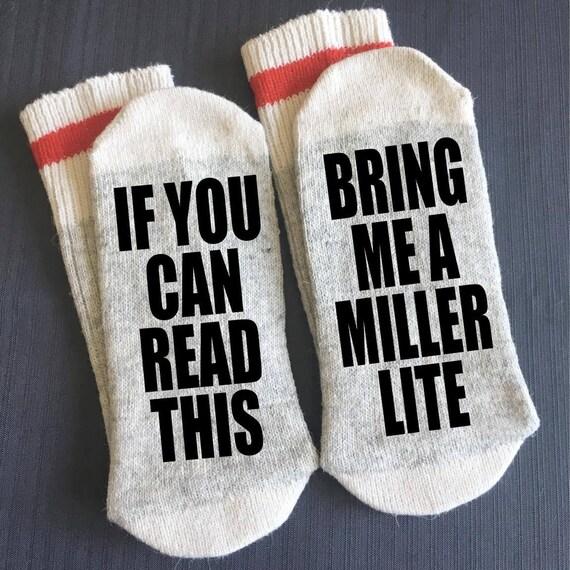 2 Pair of Socks Funny Novelty Beer Drinker Stocking Stuffer Gifts For Men Bring Me Beer Socks