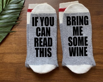Wine Socks-Bring Me Some Wine-If You Can Read This-Wine Gifts-Wine Gift Idea-Gift for Mom-Christmas Gift-Gift Under 20-Wife Wine Gifts