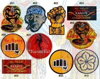 The Karate Kid Embroidered Patches Movie All Valley Championship Cobra Kay No Mercy Master Miyagi Daniel LaRusso Bonsai Tree Replica Suit