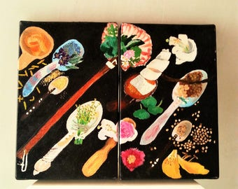 Spices and spoons, oil image objects and spices manners of old kitchens