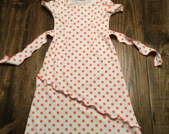 Size 6 coral polka dot dress