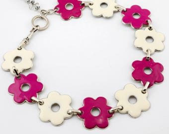 DS#173 - A Morning in the Garden Statement Necklace, flower necklace, white necklace, pink necklace, flowers necklace