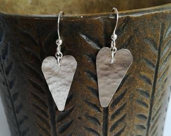 Silver jewellery. Heart earrings. Textured silver heart shaped earrings, silver hearts, wedding hearts. Silver earrings.