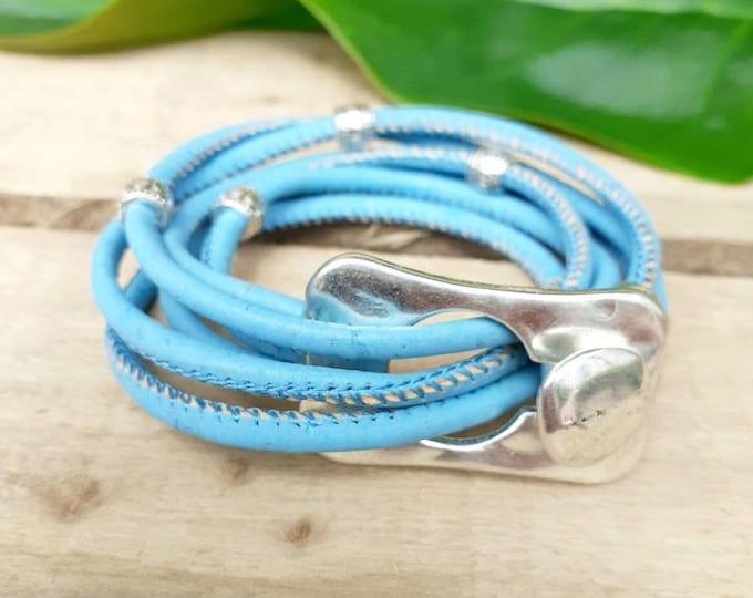 Turquoise wrap bracelet cork rectangular buckle