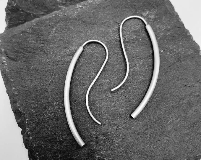 Long drop silver earrings