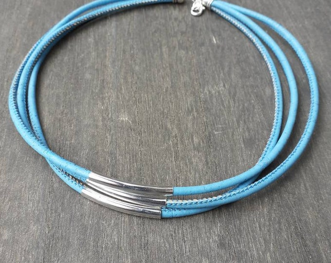 Blue necklace cork