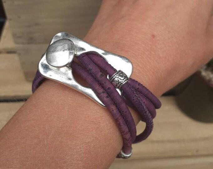 Wrap bracelet for women eco friendly cork purple