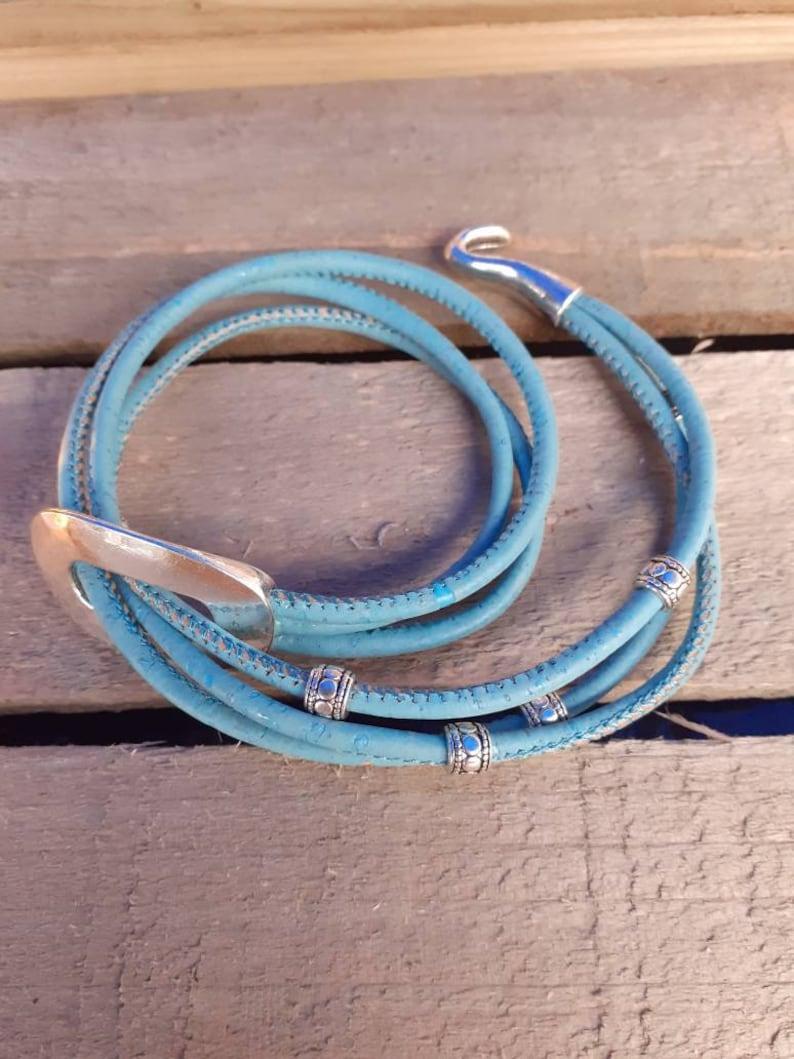 Cork wrap bracelet blue