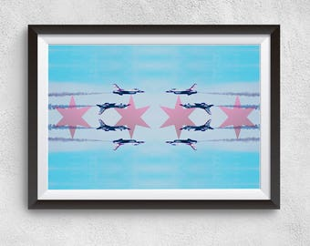 Chicago Art Print Chicago Air and Water Show Flag Photo Collage