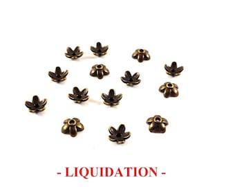 Set of 20 flowers (Ref.2) Bronze bead caps