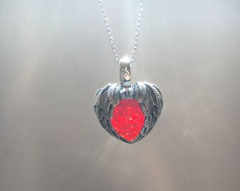 Silver and Ruby Feather Heart Pendant Necklace