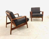 2x rare Arne choice Iversen for comfort denmark easy chairs teak lounge chair Danish design armchair sofa to teak sideboard