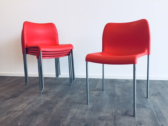 Rare! 1 of 5 red 60er 70er KUSCH + Co designer Stapelstühle Stühle vintage chairs Mid Century Sessel