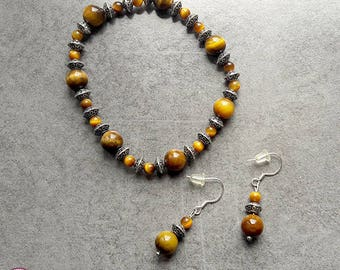 Set bracelet and earrings Tiger eye