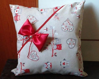 Valentine's Day pillow owls and red bow