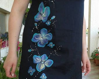 Little black dress with hand-painted flowers