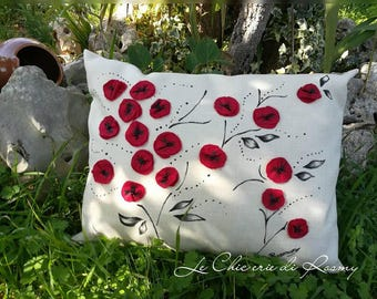 Pillow Red poppies hand painted