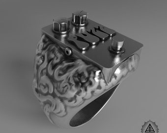 Fuzz Guitar Pedal Sterling Silver Ring