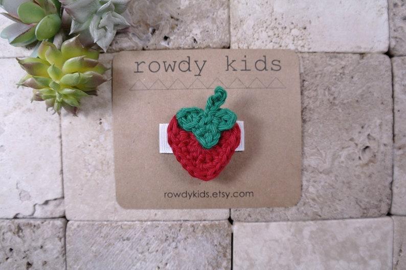 Strawberry Hair Clip Summer Wedding Clip Crochet Strawberry Headband Red Strawberry Baby Headband Girls Hair Clip Womens Hair Clip