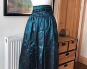 Vintage blue skirt, 1980s skirt, tafetta skirt, blue skirt, pencil skirt, cocktail dress, midi skirt, wiggle skirt, size 8-10