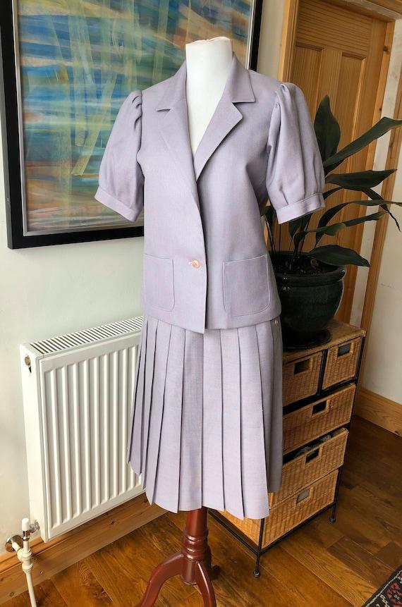 Vintage skirt suit, lilac skirt suit, purple skirt