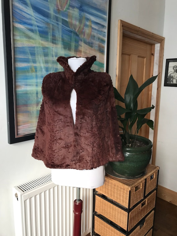 Vintage fur cape, fur cloak, 1940s fur, brown cape