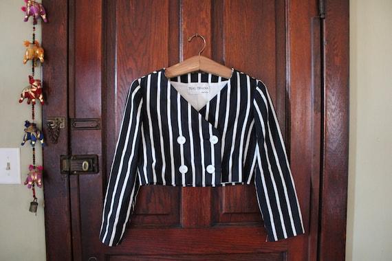 Vintage Designer Black & White Striped Crop Jacket