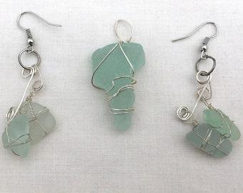 turquoise sea glass pendant and turquoise sea glass earrings