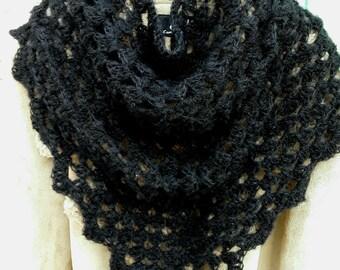 b22a1c65948f Châle chèche au crochet granny. Châle fait main. Chèche laine. Laine alpaga  et soie
