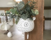 Ceramic Bear Planter, Hanging Flower Pot, Home Decor, Patio