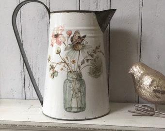 Ceramic Shabby Chic Ivory Butterfly Jug