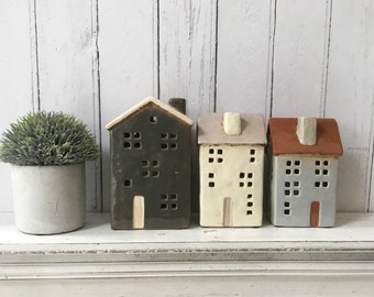 Ceramic House Tealight Holder, Unique Gifts, Home Decor, T Lite CHOICES