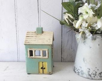 Ceramic House Tealight Holder, Unique Gifts, Home Decor, T Lite