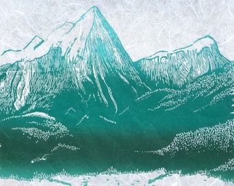 Mountain Print 1, Relief Print, Handpulled Print