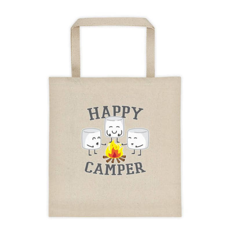 Happy Camper Marshmallows Cotton Tote Bag