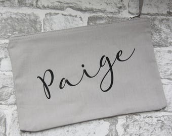 Personalised Name Costmeics bags, Personalized Name Makeup Pouch, Custom Name Makeup Bag, Bridesmaid Cosmetic Bag Personalized, Makeup Pouch