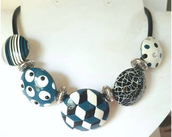 All geometric teal necklace