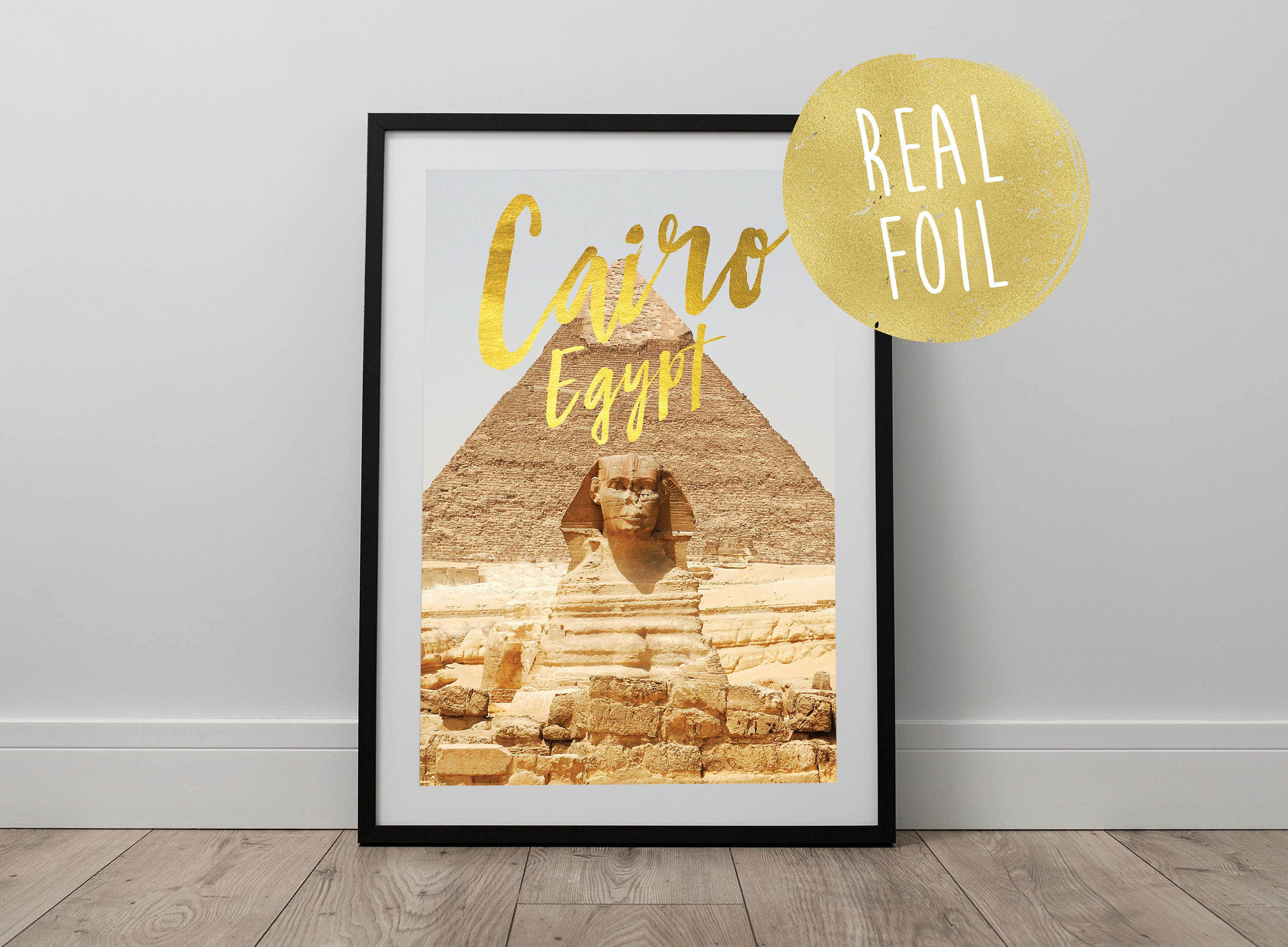 Real gold foil cairo egypt print travel wanderlust pyramids sphinx egypt wall art office art modern art home decor