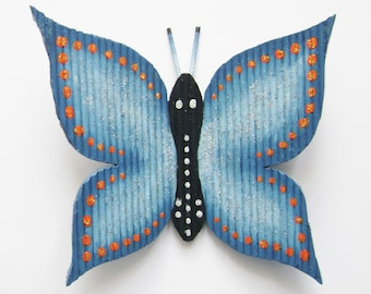 "Butterfly ""H 13 x 12"" with toothpicks and hand painted"