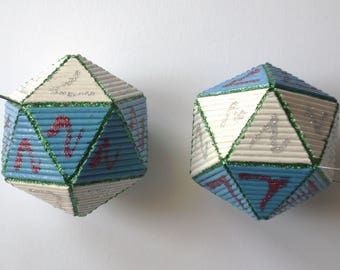 """4 pieces, tot.: 4-""""icosahedron"""" Christmas ball with hand made toothpicks"""